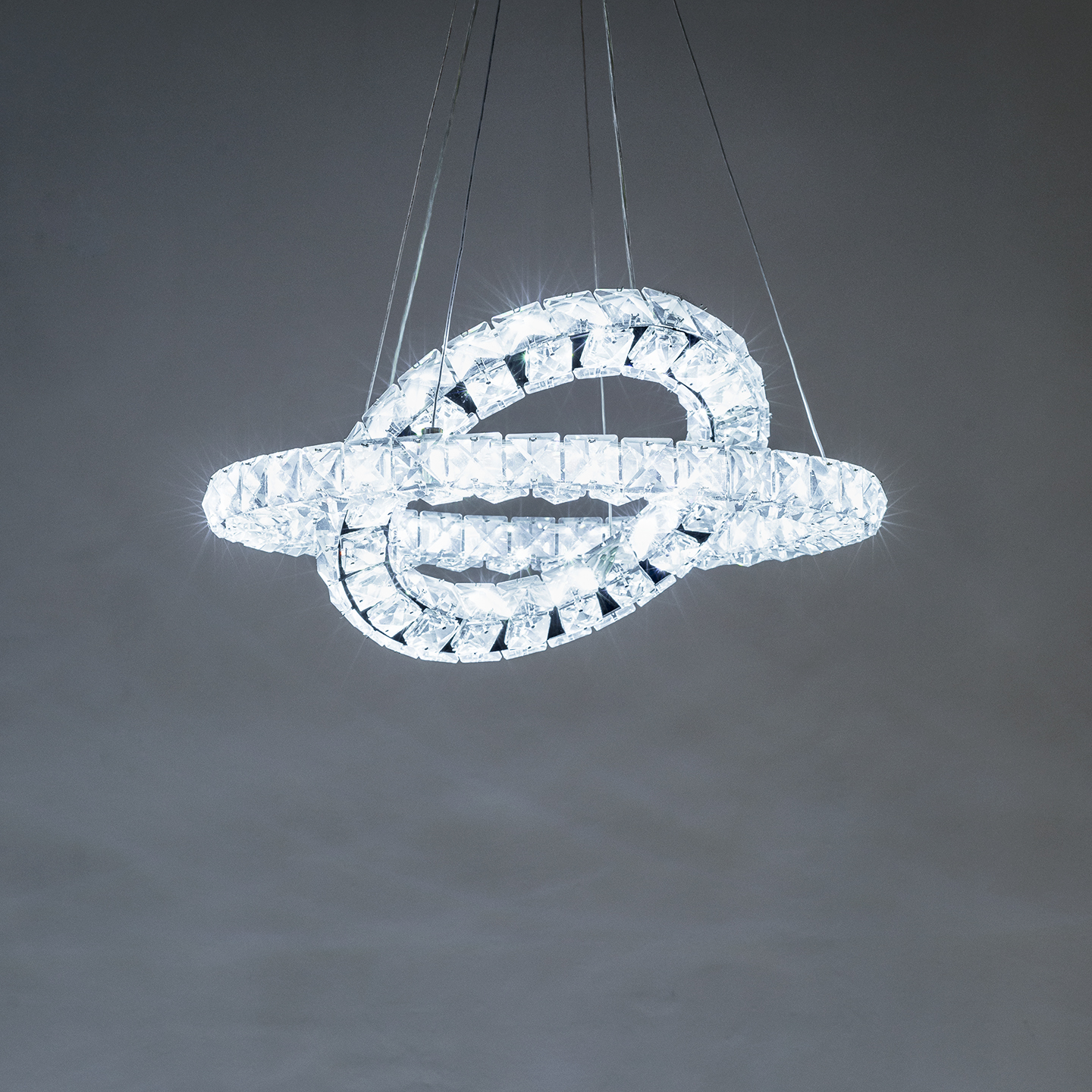 Double Crystal Ring Chandelier Z Two Lights